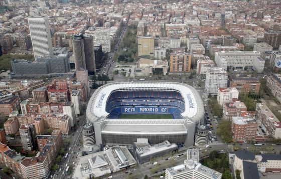 An aerial view of the Santiago Bernabéu stadium, home to Real Madrid.