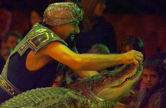 Circo Mundial crocodile tamer Anton Kotcka, aka Príncipe Kharak-Khawak, performs at La Monumental bullring in Barcelona.