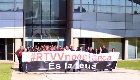 Protesta de los trabajadores en RTVV.
