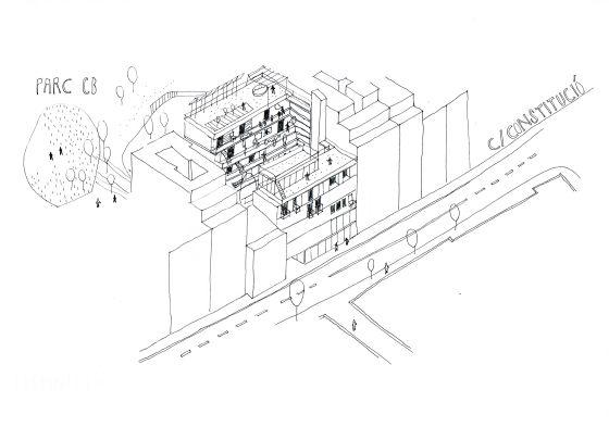 Boceto de lo que podría ser el edificio de la Cooperativa de Can Batlló.