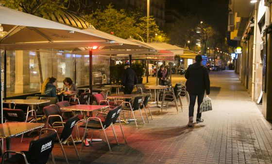 The outdoor café in Barcelona's Molina square where one of Wednesday's arrests took place.