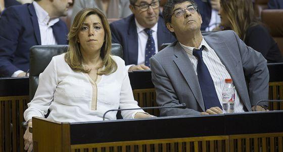 Susana Díaz y Diego Valderas, este miércoles en el Parlamento.
