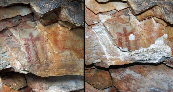 Imágenes facilitadas por Benito Navarrete del antes y el después del estado de la pintura rupestre encontrada hace 41 años en la cueva de Los Escolares de Santa Elena (Jaén).
