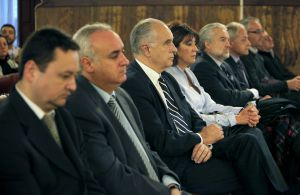 Ocho de los nueve procesados durante el juicio en febrero de 2014.