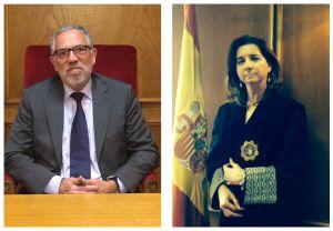 Los jueces y candidatos a decano Antonio Viejo y Conchita Jerez.