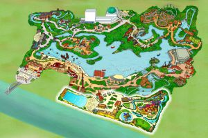 Plano del parque con la zona de piscinas.