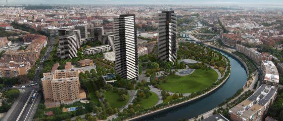 Proyección realizada por el Ayuntamiento de Madrid del ámbito junto al río Manzanares una vez concluida la reforma.
