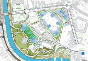 Plano del futuro parque y los dos rascacielos junto al río Manzanares.