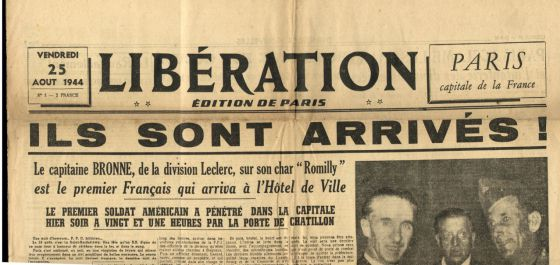 Portada del periódico 'Libération' del 25 de agosto de 1944.