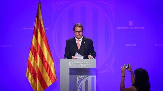 Artur Mas en rueda de prensa en el balance del curso político el 5 de agosto.