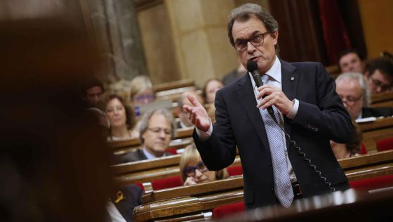 El presidente de la Generalitat, hoy en el Parlament.