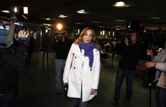 Tania Sánchez, antes de comparecer en el Ayuntamiento de Rivas.