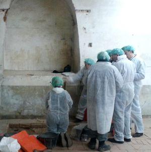 Momento en que los investigadores se arremolinan ante restos óseos recién descubiertos.