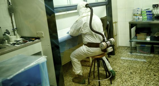 A technician inside the storeroom reserved for the largest drug hauls.