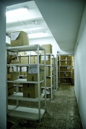 A view of one of the drug storage rooms.
