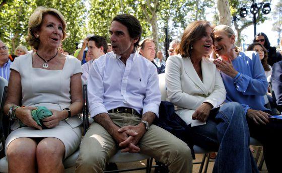 Aguirre, Aznar, Cifuentes, Botella  en el acto en Madrid Rio