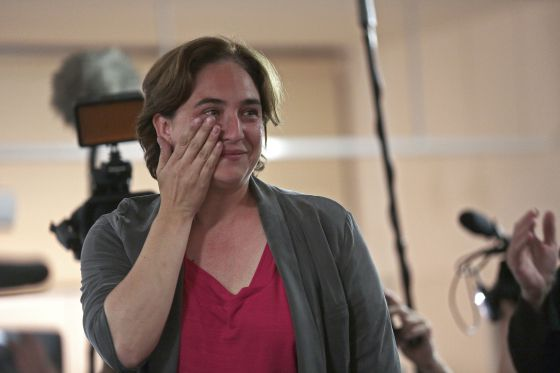Ada Colau after learning of her victory at Barcelona municipal elections on Sunday night.