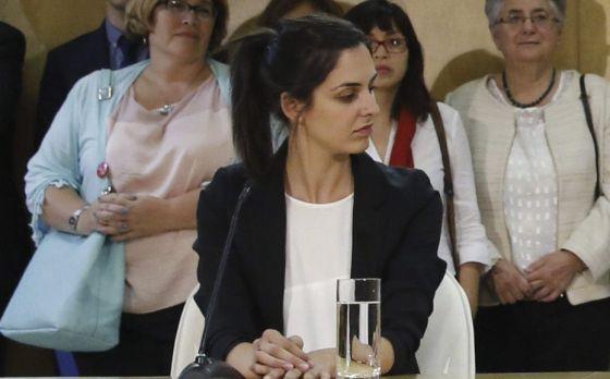Rita Maestre durante la rueda prensa ofrecida tras la primera Junta de Gobierno del Ayuntamiento.