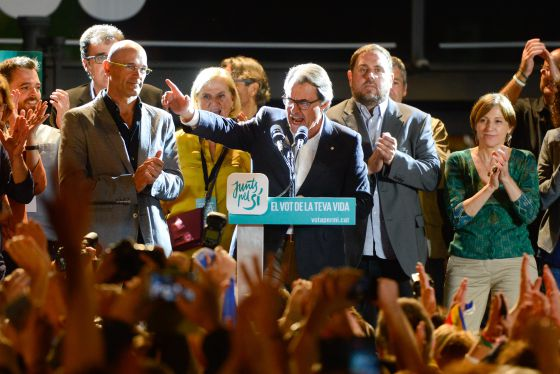 Catalan premier Artur Mas celebrating the election results on Sunday night.