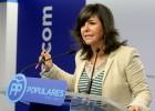 Nerea LLanos, secretaria general del PP vasco, interviene este martes en la sede del partido en Bilbao.
