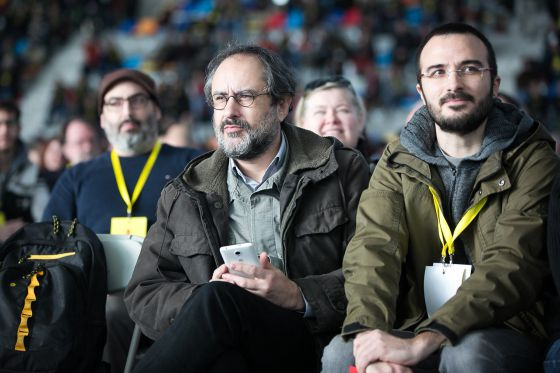 Antonio Baños, junto al diputado Albert Botran