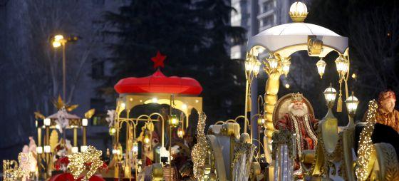 Carrozas de la cabalgata de los Reyes Magos en Madrid en 2015