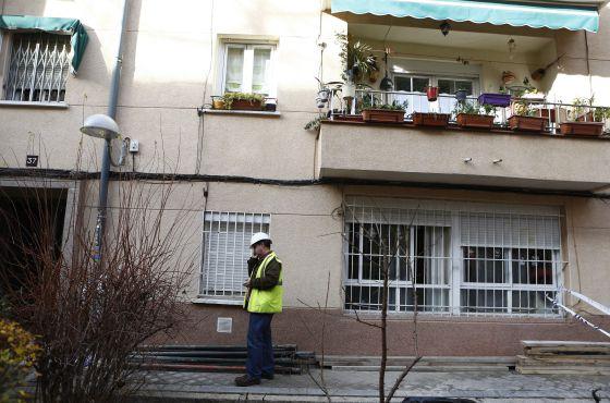 Casa afectada por posible derrumbe en Carabanchel el 7 de enero.