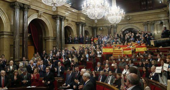 El Parlamento catalán tras aprobar la resolución independentista el 9 de noviembre.