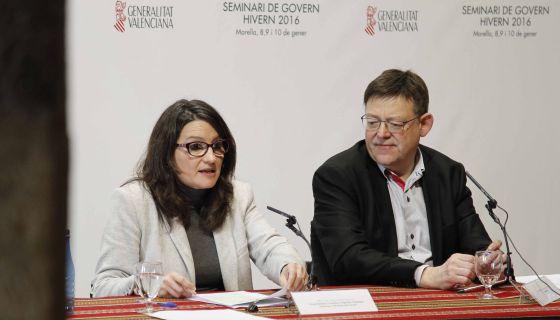 La vicepresidenta Oltra y el presidente Puig, en Morella.