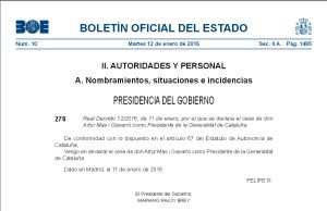 El BOE evita reconocer el trabajo de Mas al frente de la Generalitat