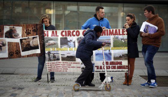 Protesta de activistas contra los circos