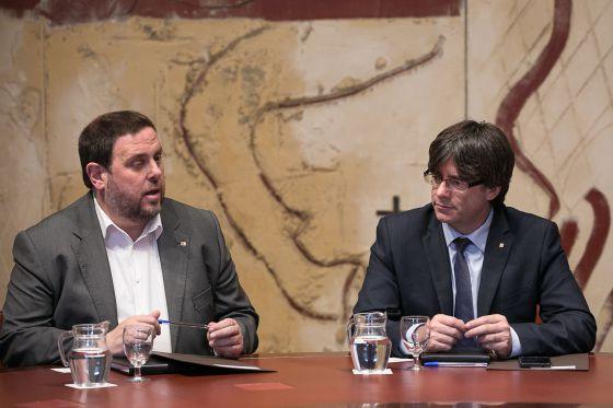 Oriol Junqueras junto al presidente de la Generalitat, Carles Puigdemont
