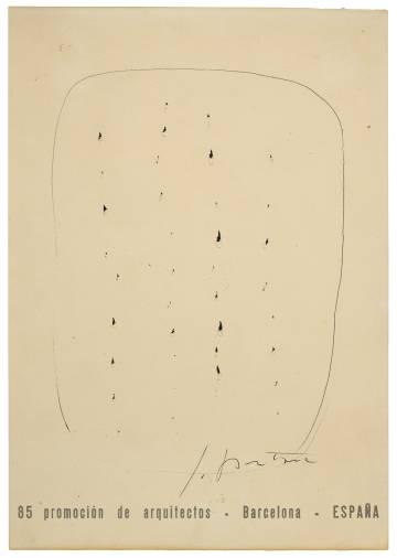 El dibujo de Fontana que puede verse en la exposición de Barcelona.