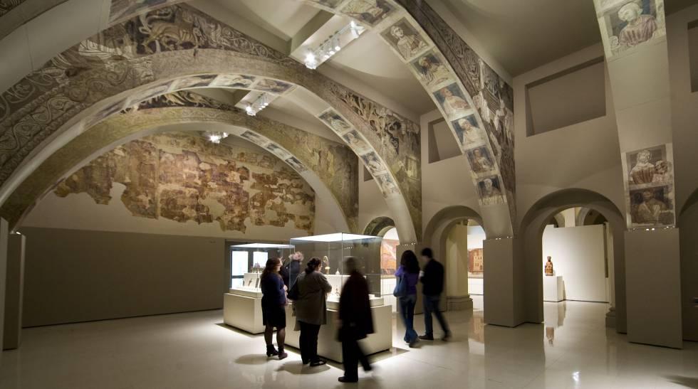 Las pinturas de la sala capitular del monasterio de Sijena, tal y como pueden verse en el MNAC.