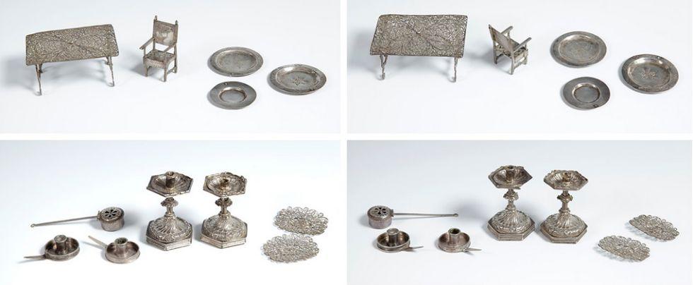 El resto de los objetos del lote que se vende en subasta junto a la cuna
