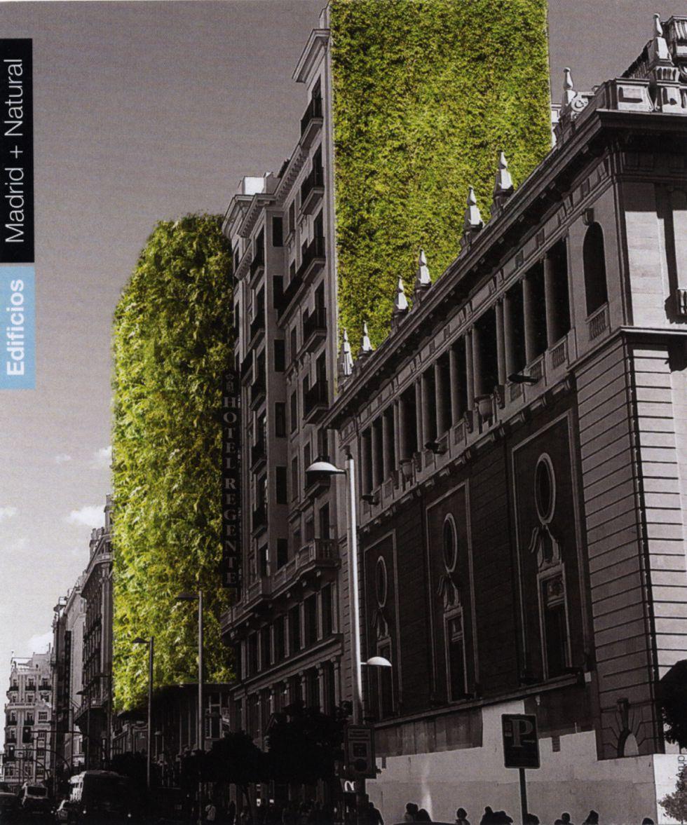 Recreación elaborada para el Ayuntamiento de un jardín vertical en la Gran Vía.