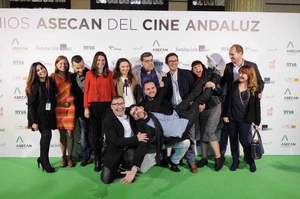El equipo del Festival de Documentales Alcances, en la gala de los premios Asecan, en Sevilla.