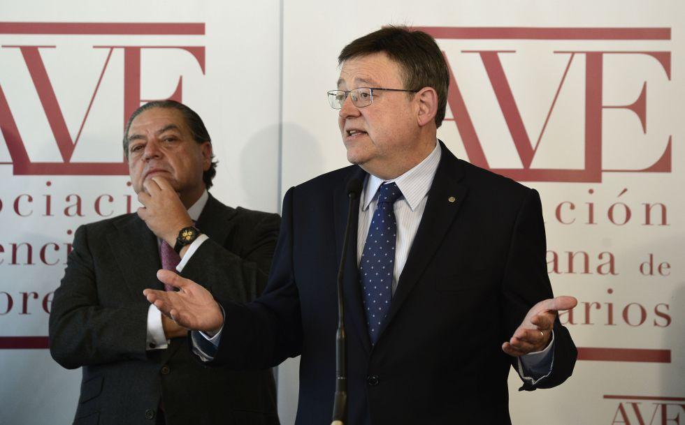El presidente de la Generalitat, Ximo Puig, y el presidente de la Asociación Valenciana de Empresarios, Vicente Boluda