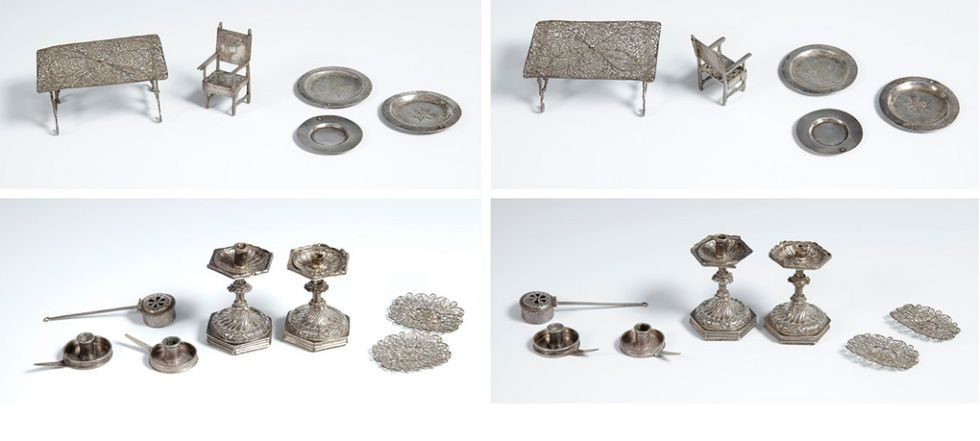 Miniaturas de plata de Sijena que se vendían en el mismo lote que la cuna.