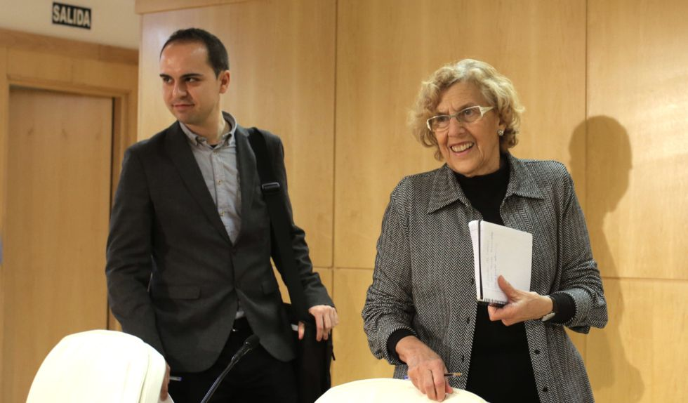 Calvo y Carmena, en la rueda de prensa del pasado lunes.