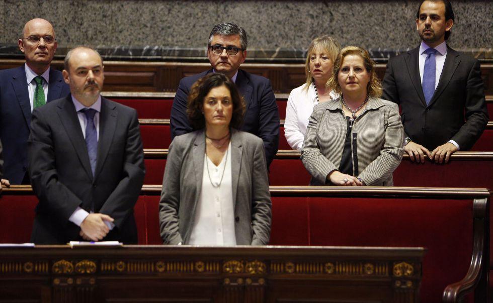 El Grupo Popular en el Ayuntamiento de Valencia en el pleno de hoy. El asiento vacío es del portavoz Alfonso Novo.