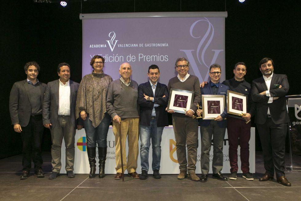 Los premiados de la Academia Valenciana de Gastronomía.