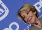 La portavoz del PP en el Ayuntamiento de Madrid, Esperanza Aguirre, durante la rueda de prensa que ha ofrecido hoy.