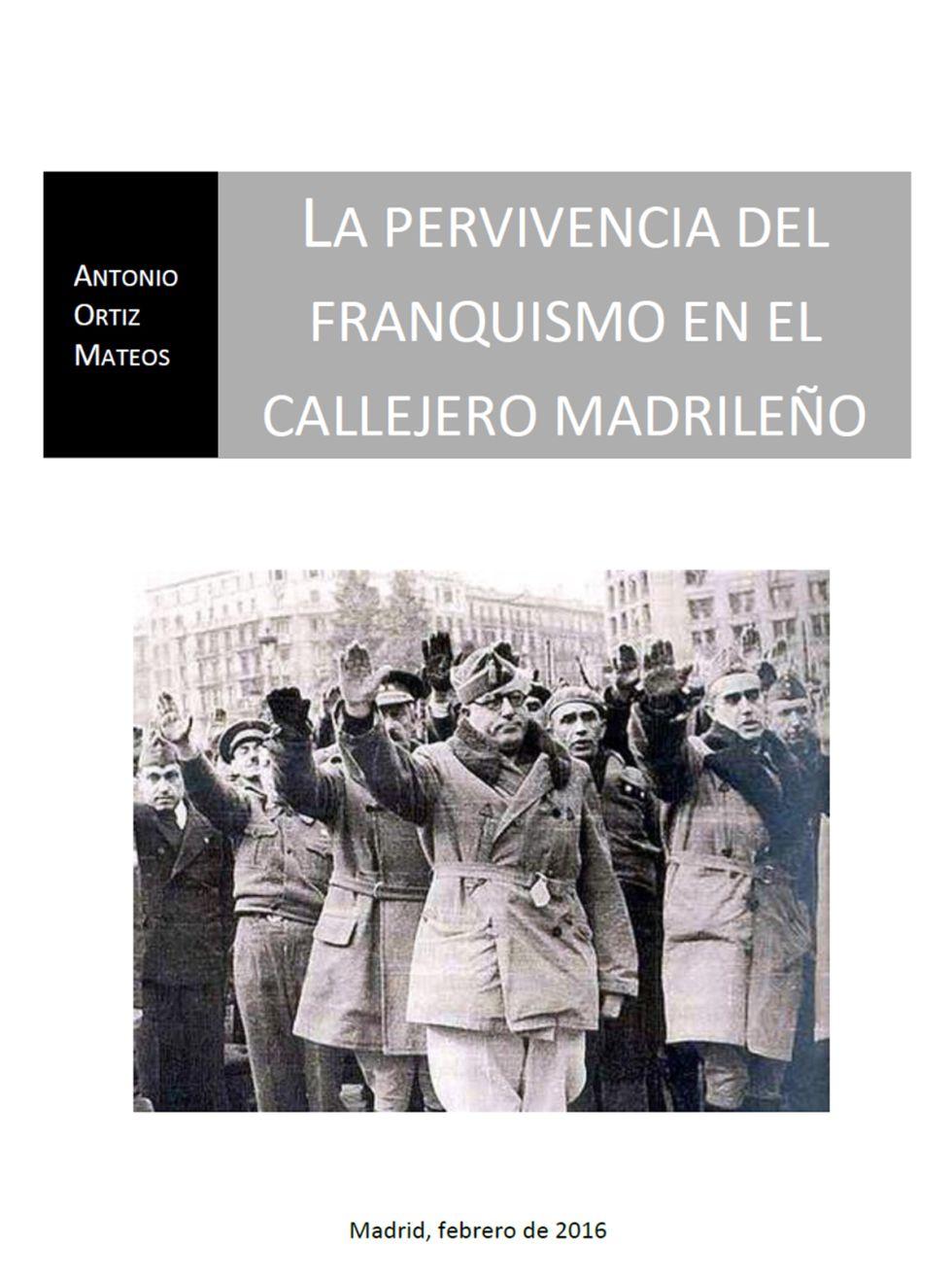 Primera página del informe sobre las calles franquistas.