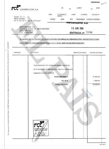 Factura emitida por FCC a Mercamadrid por el acto de visita de las obras que realizó el alcalde de Madrid en 2008.