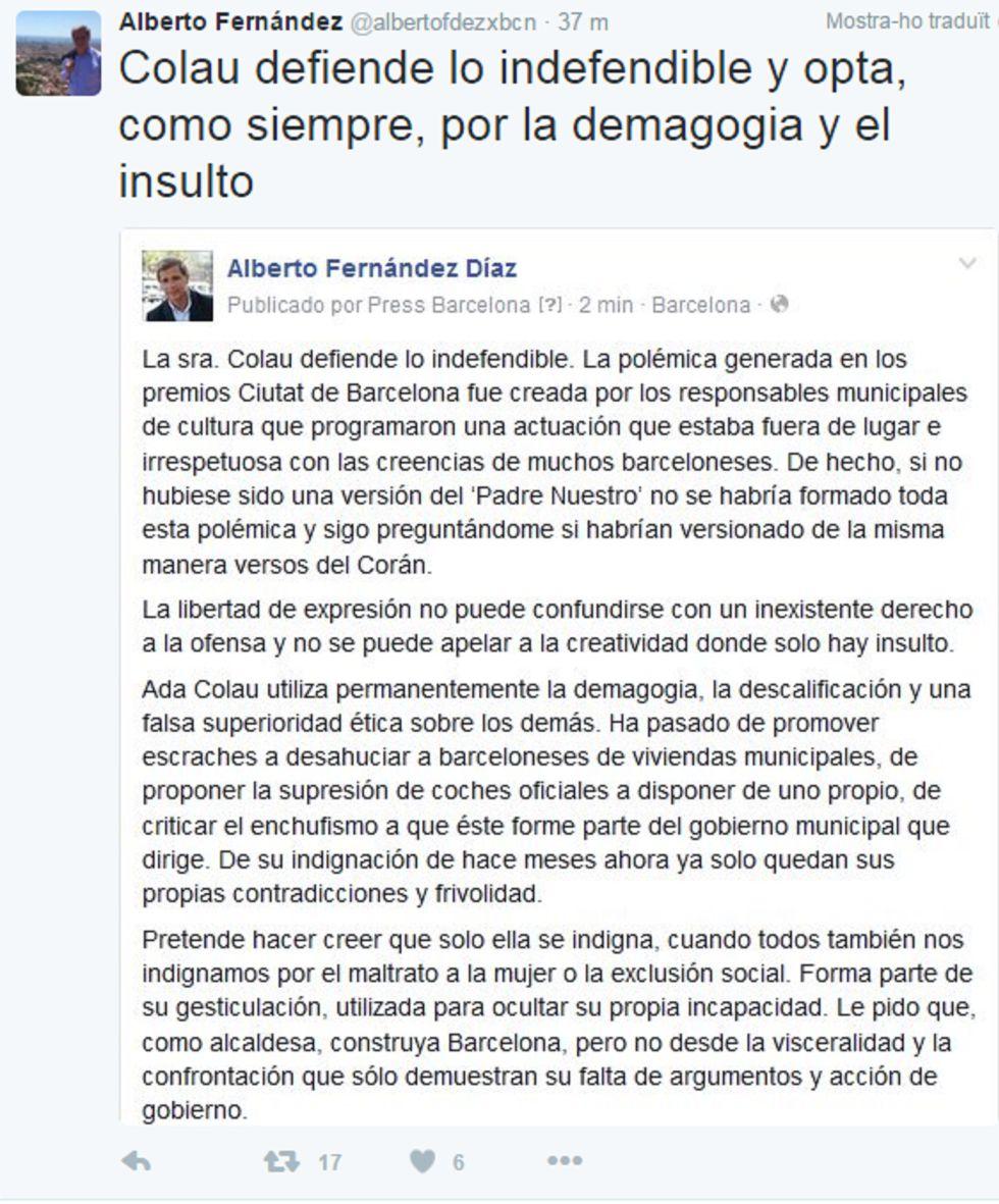 """Colau: """"Fernández nunca se indigna tanto por la violencia de género"""""""