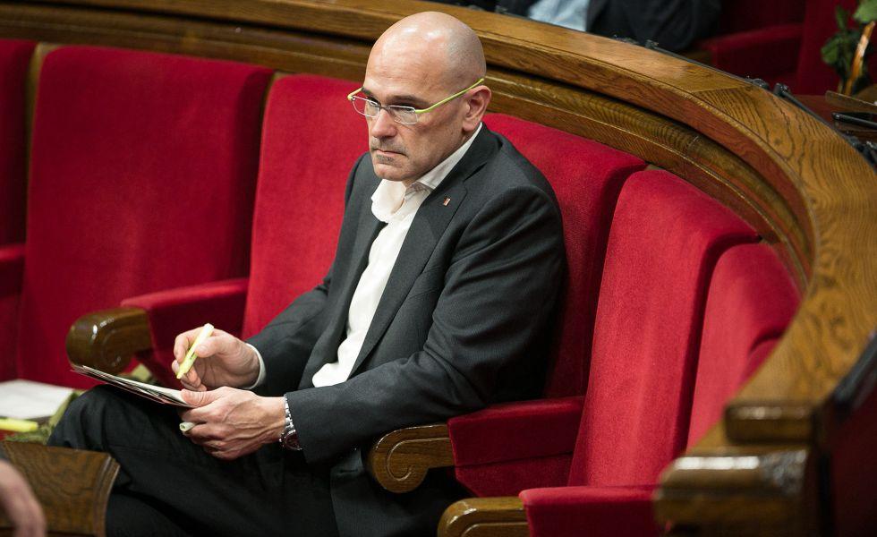 Romeva, en el pleno del Parlament del miércoles.