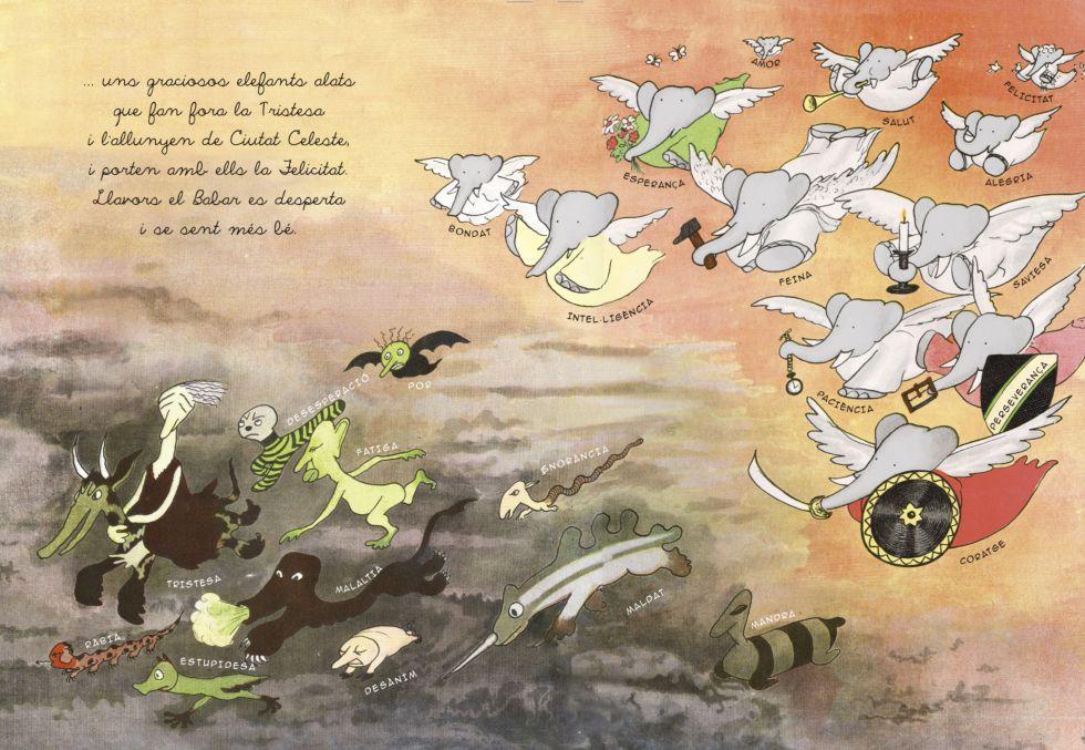 Una de las ilustraciones inéditas que se incorporan a la nueva edición de Babar.