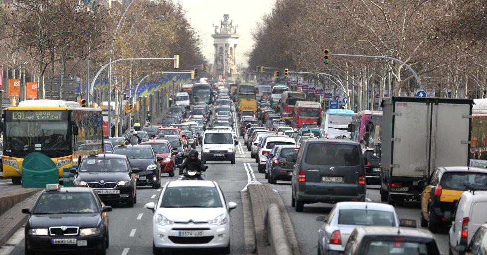 Trafico por la huelga de metro en Barcelona