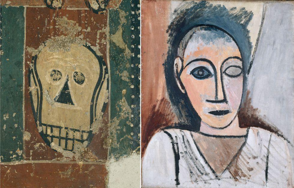 Detalle de la pintura románica del Maestro de Sorpe y 'Busto de hombre', de Picasso, de 1907.